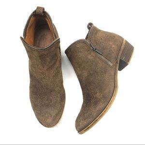 LUCKY BRAND leather suede distress ankle booties